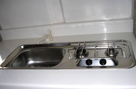 Trillium Trailer stainless sink and range combo